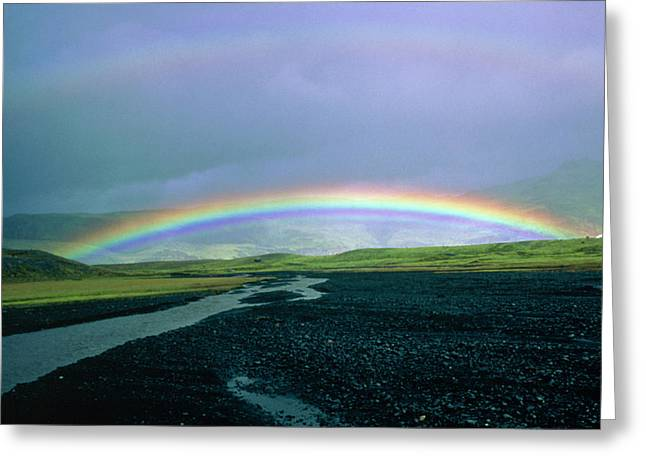 Double Rainbow Over Iceland Greeting Card by Simon Fraser/science Photo Library