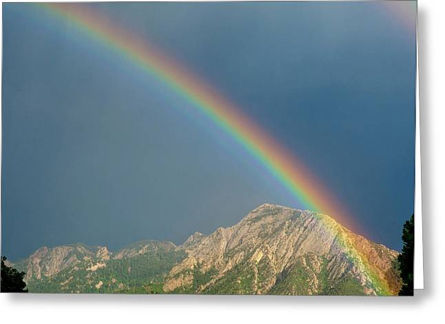 Double Rainbow Over Mount Olympus Greeting Card by Howie Garber