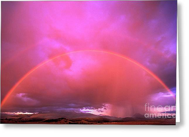 Double Rainbow Over Mount Shasta Greeting Card by Dave Welling