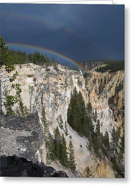 Double Rainbow Over Yellowstone Greeting Card
