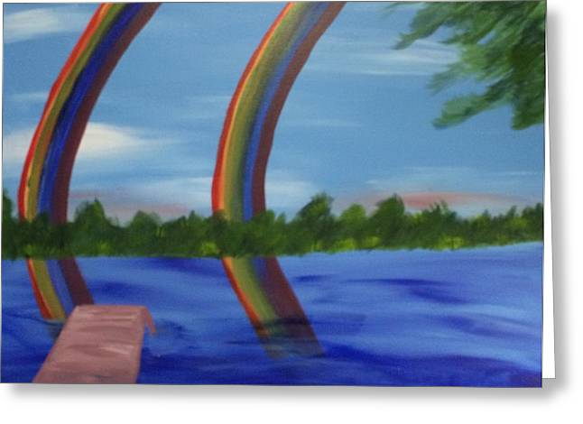 Double Rainbow  Greeting Card by Toni  Di Nuzzo