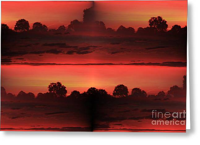 Double Red Sunrise Greeting Card