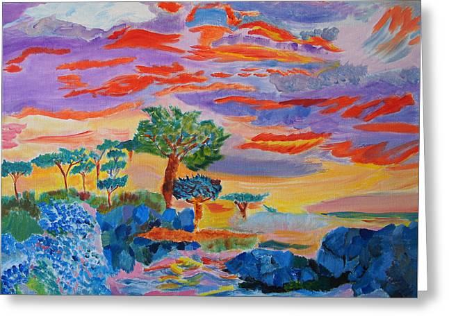 Greeting Card featuring the painting Candy Coated Monterey Sunset by Meryl Goudey