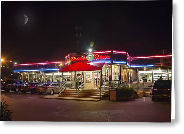 Double T Diner At Night Greeting Card by Brian Wallace