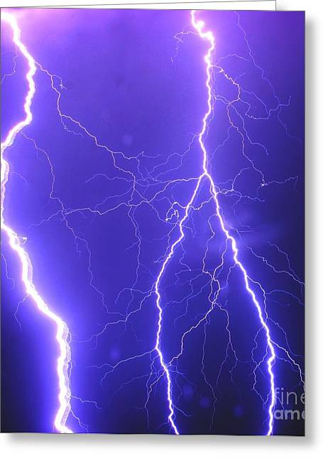 Double Triple Blue Lightning Greeting Card