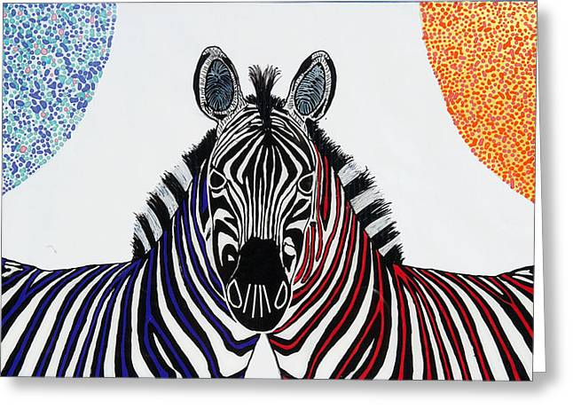 Double Zebra Greeting Card by Patrick OLeary