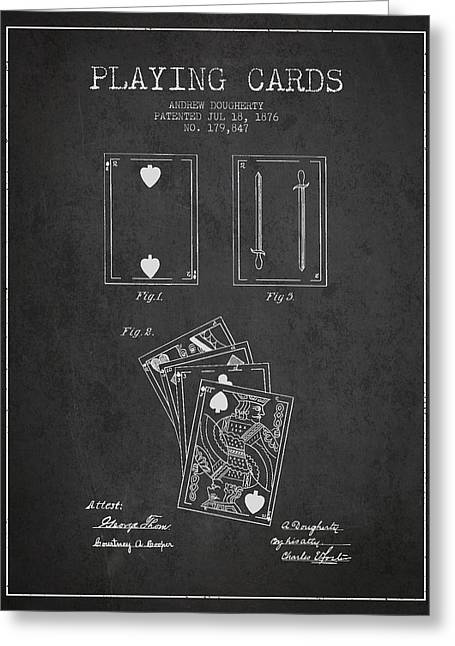 Dougherty Playing Cards Patent Drawing From 1876 - Dark Greeting Card by Aged Pixel