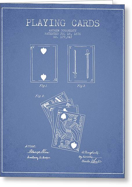 Dougherty Playing Cards Patent Drawing From 1876 - Light Blue Greeting Card by Aged Pixel