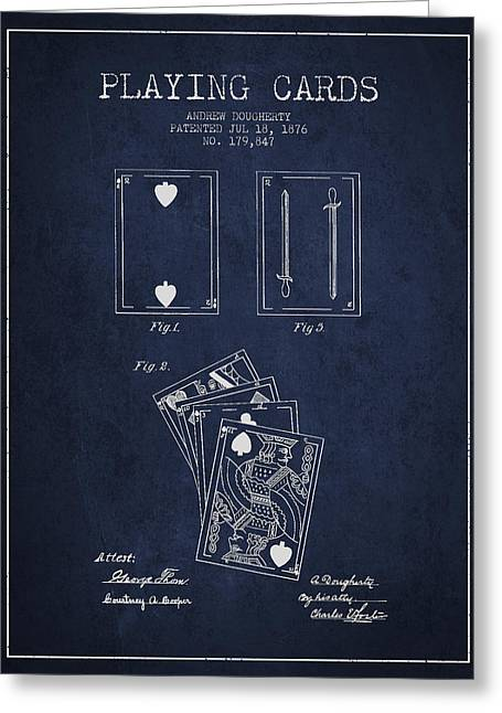 Dougherty Playing Cards Patent Drawing From 1876 - Navy Blue Greeting Card by Aged Pixel