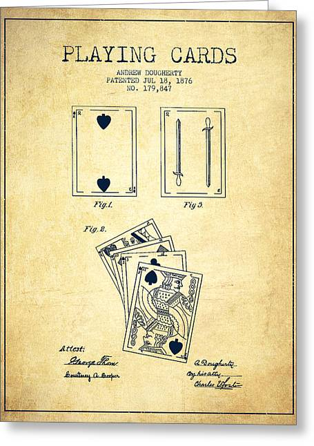 Dougherty Playing Cards Patent Drawing From 1876 - Vintage Greeting Card by Aged Pixel
