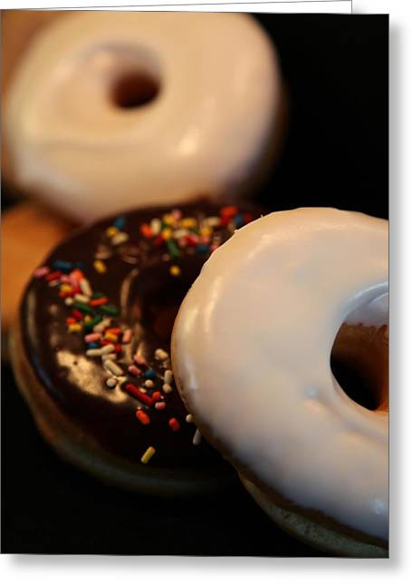 Doughnut Roll Greeting Card by Karen Wiles