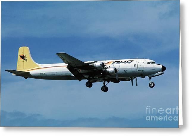 Douglas Dc-6bf  Landing  N95bl Apa Greeting Card