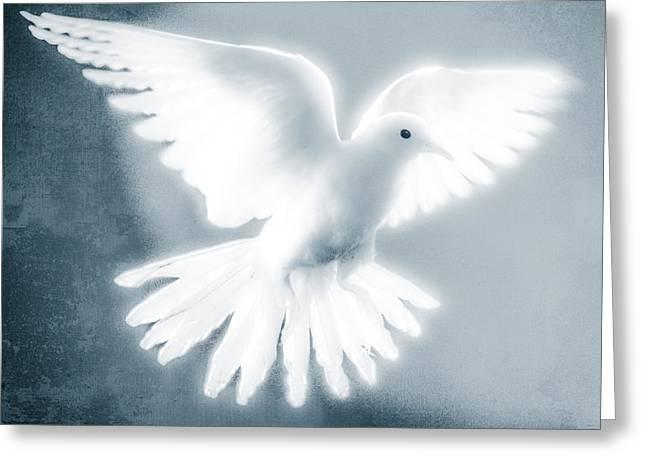 Dove In Flight Blue Greeting Card by Yo Pedro