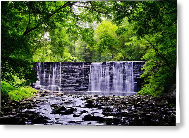 Dove Lake Waterfall At Gladwyne Pa Greeting Card