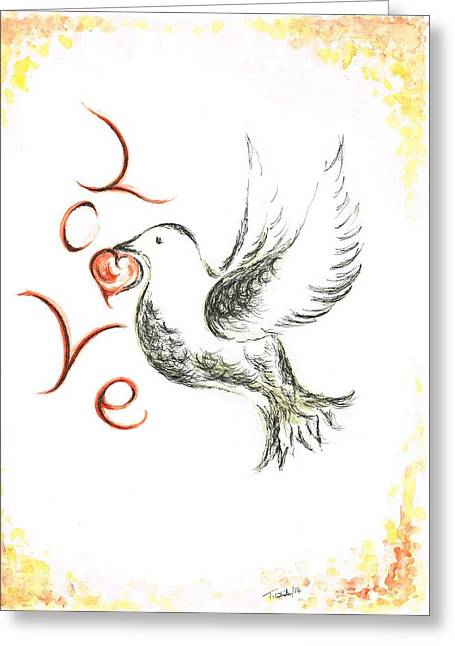 Dove Of Love Greeting Card by Teresa White
