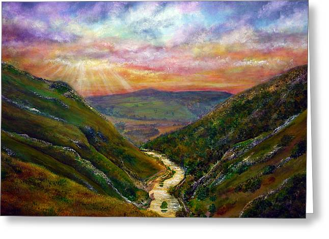 Dovedale Sunset Greeting Card by Ann Marie Bone
