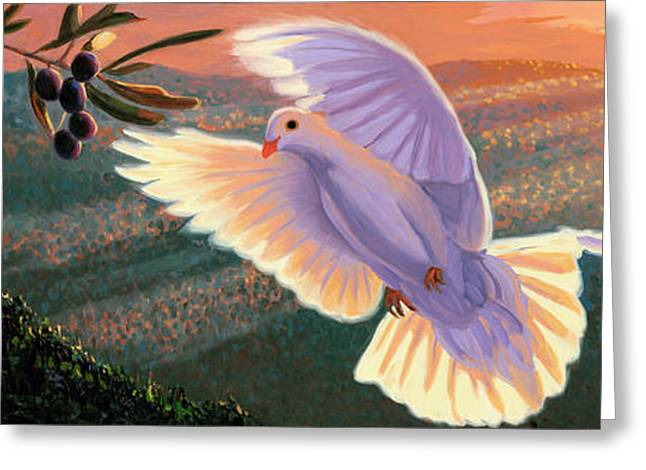 Doves And Olive Branch Greeting Card by Steve Simon