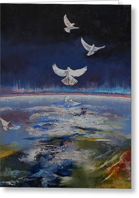 Doves Greeting Card by Michael Creese