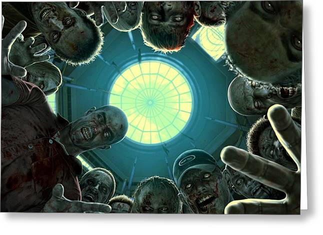 Down And Out In Zombie Land Greeting Card