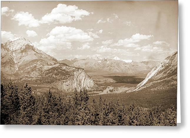 Down Bow Valley From Upper Spring, Banff, Alberta, Valleys Greeting Card by Litz Collection