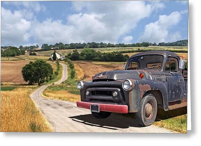 Down On The Farm - International Harvester S-100 Greeting Card by Gill Billington