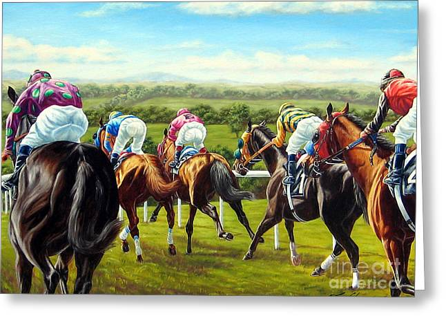 Down The Backside At Ascot Greeting Card by Tom Chapman