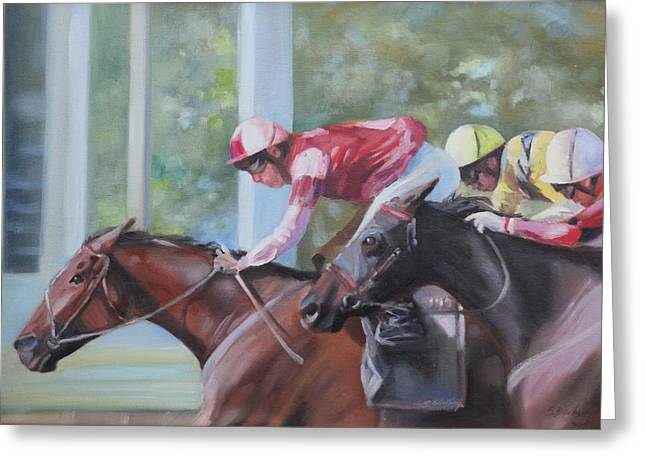 Down The Backstretch Greeting Card