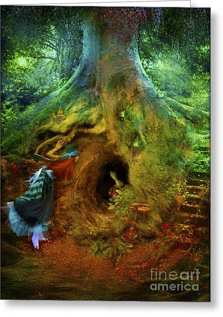 Down The Rabbit Hole Greeting Card by Aimee Stewart