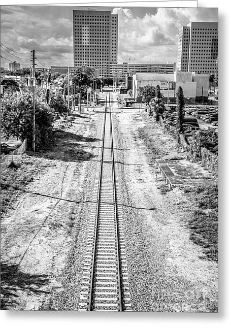 Down The Tracks - Downtown Miami - Black And White Greeting Card by Ian Monk