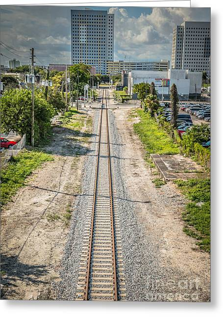 Down The Tracks - Downtown Miami Greeting Card by Ian Monk