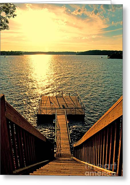 Down To The Fishing Dock - Lake Of The Ozarks Mo Greeting Card by Debbie Portwood