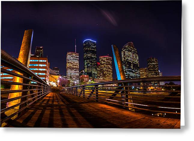 Down Town Houston From The Buffalo Bayou Bridge Greeting Card by Micah Goff