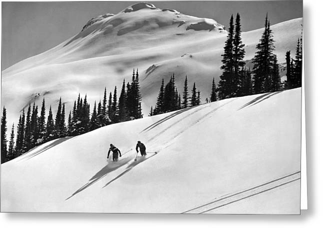 Downhill Skiing In Banff Greeting Card by Underwood Archives