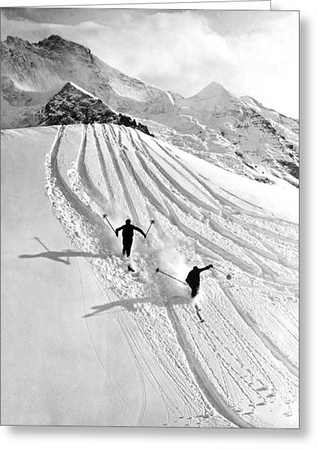 Downhill Skiing In Powder Greeting Card by Underwood Archives