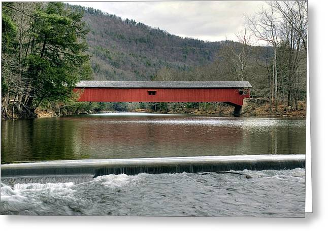 Downstream From The Historic Hillsgrove Covered Bridge Greeting Card by Gene Walls