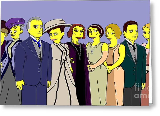 Greeting Card featuring the digital art Downton Abbey - Cast Nine by Donna Huntriss