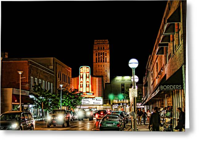 Downtown Ann Arbor Greeting Card by Pat Cook