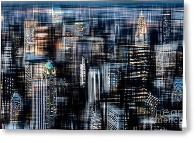 Downtown At Night Greeting Card by Hannes Cmarits