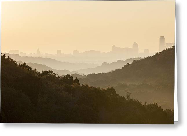 Downtown Austin From 360 On A Foggy Morning Greeting Card by Rob Greebon