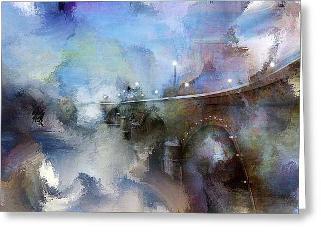 Downtown Bridge Over The Grand Grand Rapids Michigan Greeting Card by Evie Carrier
