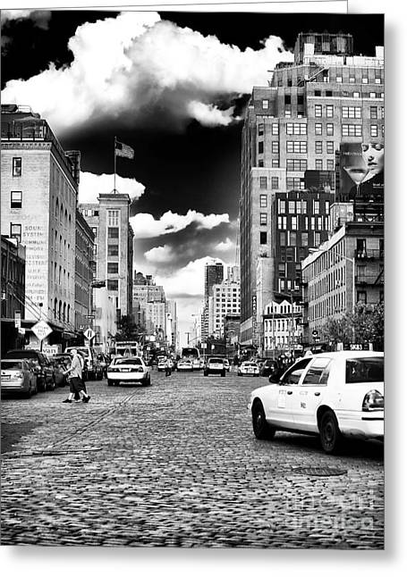 Downtown Cab Ride Greeting Card by John Rizzuto