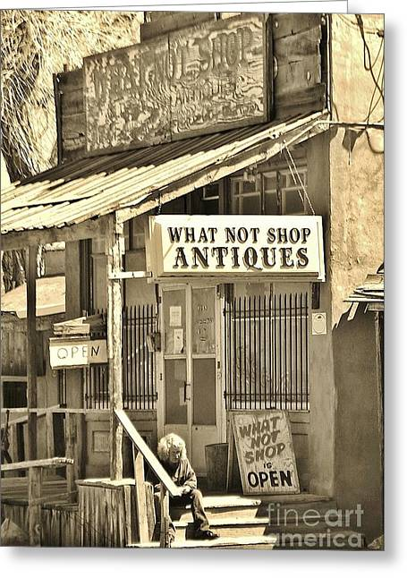 Downtown Cerrillos Greeting Card by William Wyckoff