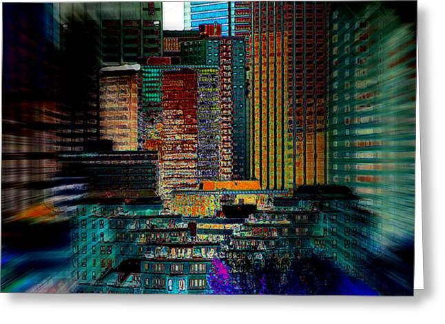 Downtown Chaos Greeting Card by Stuart Turnbull