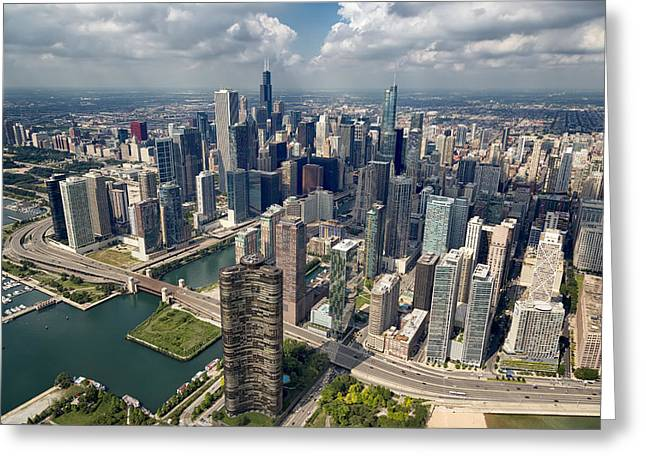 Downtown Chicago Aerial Greeting Card by Adam Romanowicz
