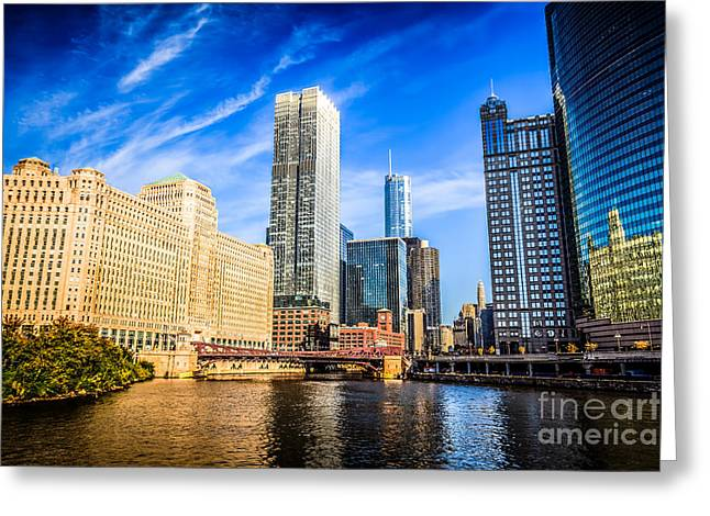 Downtown Chicago At Franklin Street Bridge Picture Greeting Card by Paul Velgos