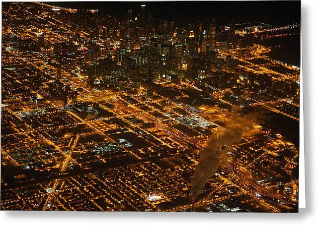 Greeting Card featuring the photograph Downtown Chicago At Night by Nathan Rupert