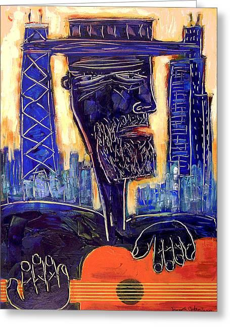 Downtown Chicago Blues - Chicago Skyline Art Greeting Card by Joseph Catanzaro