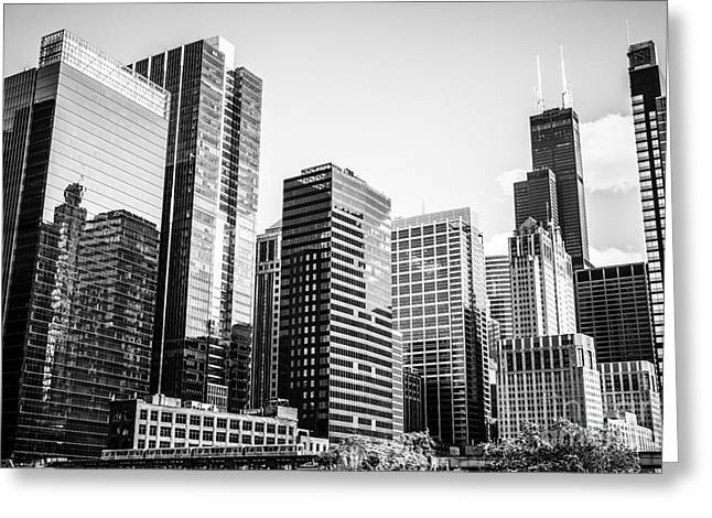 Downtown Chicago Buildings In Black And White Greeting Card by Paul Velgos