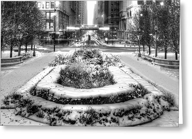 Downtown Chicago In Winter Greeting Card by Twenty Two North Photography