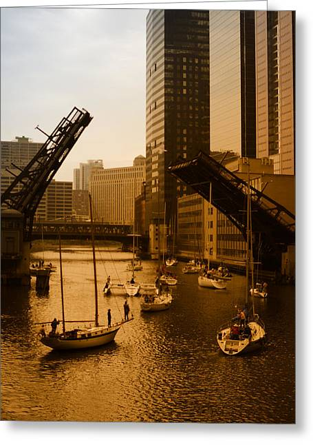 Downtown Chicago Greeting Card by Miguel Winterpacht